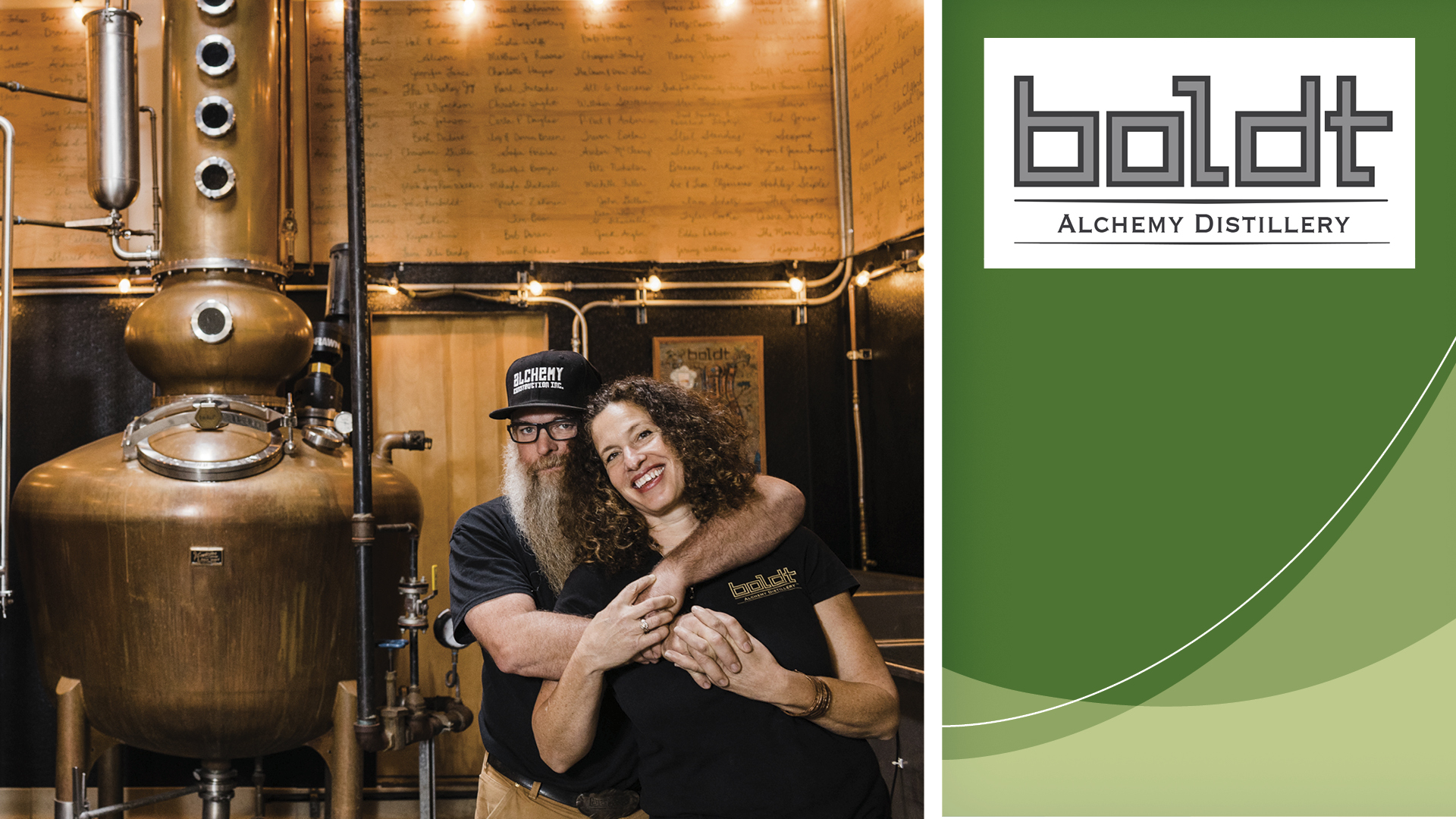 Photo of Steve and Amy Bohner in their distillery.