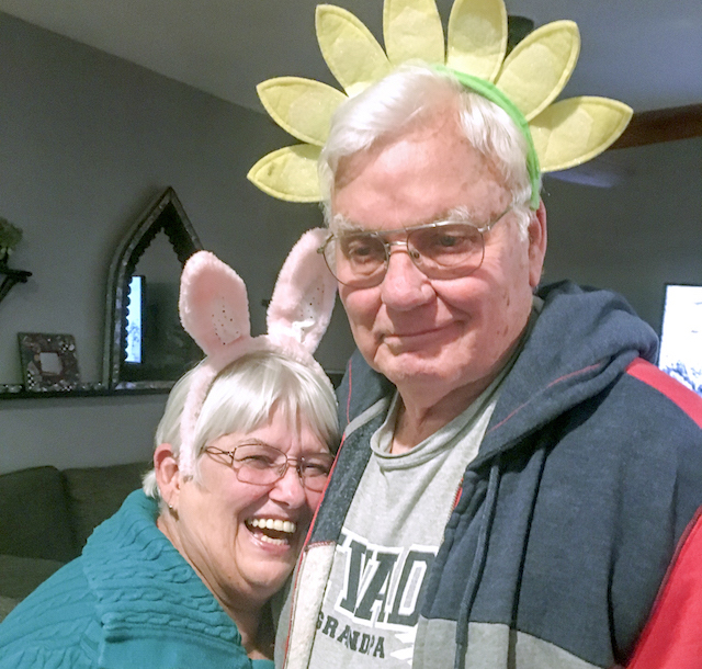 Pattie and Glen Atkinson, of Nevada, showing their playful nature wearing bunny and flower headbands.