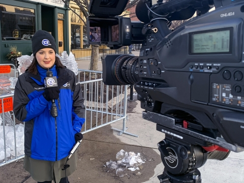 Kayla Molander ('12, English) films a segment for 13abc Action News in Toledo, Ohio, where she's a multimedia journalist. Previously, she worked for CBS Chicago, where she was part of a team of investigative journalists that won two regional Emmy awards.