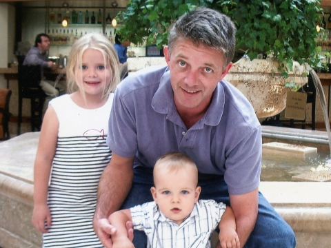 Laurence White with his children, Sophie and Liam.