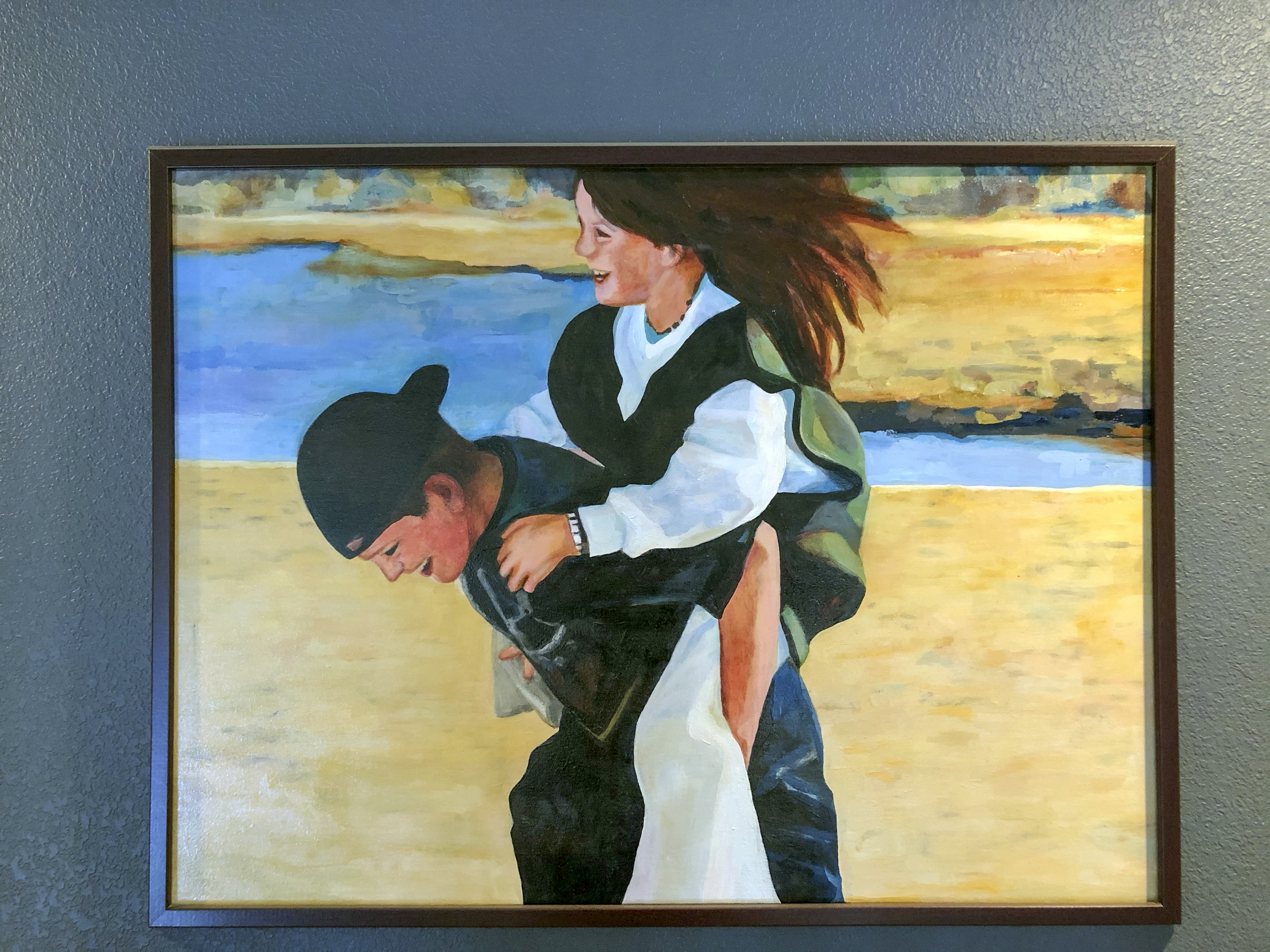 A painting of two children. A boy is giving the girl a piggyback ride. the children are laughing and having fun